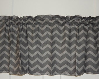 Dark and Light Gray Chevron zig zag curtain Valance