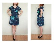 Floral blue dress 90s Grunge Babydoll Dress