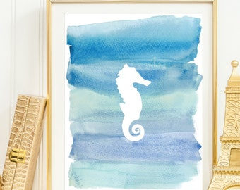 Seahorse Blue Watercolor Silhouette Wall Decor Printable Wall Art Beach House Print Nautical Nursery Wall Decor Ocean Print