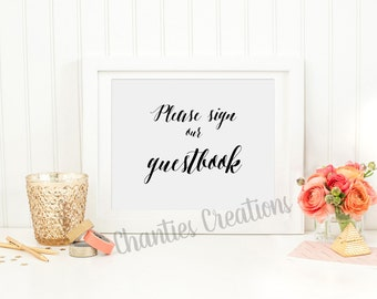 Please Sign Our Guestbook Sign. Printable Wedding Sign. DIY Wedding. Guestbook Sign. Wedding Signs Printable. Tabletop Signs. Wedding Decor