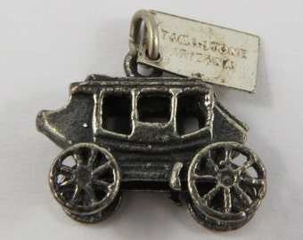 Stagecoach With Tombstone Arizona Tag Sterling Silver Vintage Charm For Bracelet