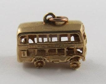 Double Decker Bus Mechanical 9K Gold Vintage Charm For Bracelet