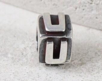 Authentic Carlo Biagi Sterling Silver Alphabet Letter U Block Charm • Bracelet Charm • Necklace Pendant •