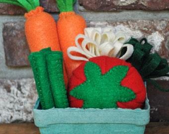 Felt Vegetable Basket - Felt Food for Pretend Play