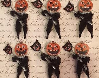 SIX (6) Vintage Style Halloween Pumpkin Man Chenille Ornament - Primitive - Retro