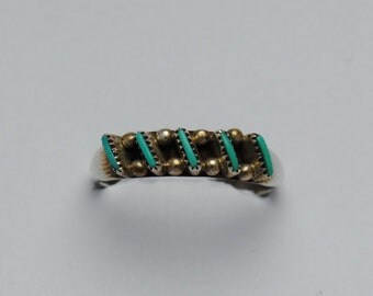 Turquoise ring, vintage ring, zuni ring, navajo ring, boho ring, ethnic ring, zuni jewelry, vintage jewelry, native american jewelry