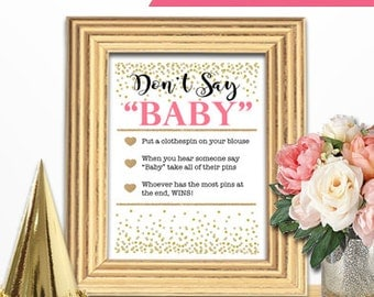Baby Shower Game Download - DON'T SAY BABY - Coral and Gold - Instant Printable Digital Download - Baby Girl - diy Princess Glitter Dots