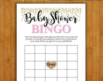 Baby Shower Game Printable - BABY SHOWER BINGO - Pink & Gold Confetti - Instant Digital Download - Baby Girl - diy Princess Glitter Dots