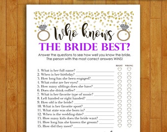 Bridal Shower Game Download - Who Knows the Bride Best - PURPLE and Gold - Shower Games Printable Instant Download - Glitter Confetti