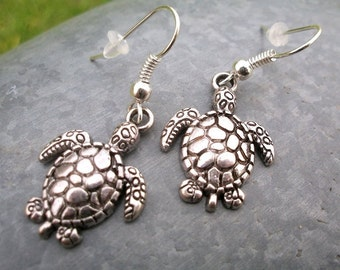 Turtle earring, silver colors, also as clip-on earrings