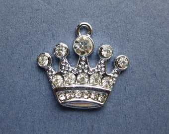 5 Rhinestone Crown Charms - Rhinestone Crown Pendants - Princess Charm - Princess Crown Charm - Rhinestone Crown -21mm x 20mm-(No.117-10105)