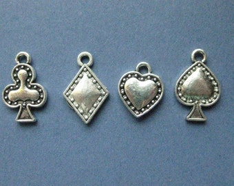 3 sets - Poker Charms - Card Charms - Poker Pendant - Club - Heart - Spade - Diamond - Antique Silver- (No.23-10334)