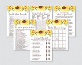 Sunflower Bridal Shower Games Package with Six Games- Printable Rustic Bridal Shower Games - He Said She Said, Bingo, etc Yellow 0016-A