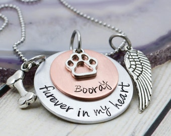 Personalized Pet Memorial Necklace - Personalized Pet Necklace - Pet Memorial Jewelry - Dog Memorial Necklace - Pet Jewelry - Hand Stamped