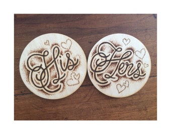 His & Hers Wood Burned Pyrography Drinks Coasters // Pyrography // Wood Burning // Two Coasters // Home Decor // Decorative Coasters