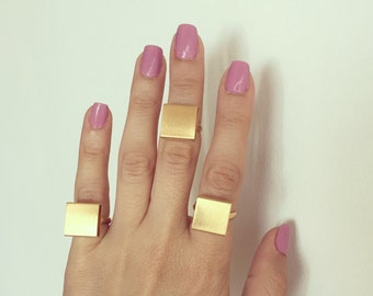 Square Geometric Gold Ring , Adjustable gold plated ring , Gift for her.