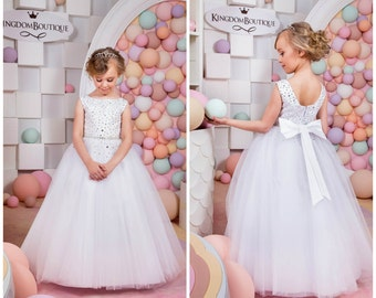 White Flower Girl Dress - Holiday Bridesmaid Birthday Wedding Party White Flower Girl Tulle Dress 14-1058