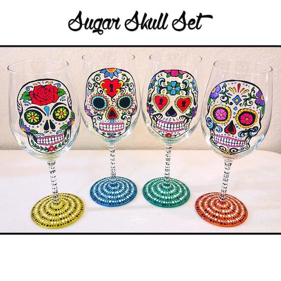 Hand Painted Skull Wine Glasses
