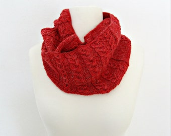 Infinity knit scarf Red knit scarf cowl Circle knit scarf Red cable scarf Knitted scarf for her Unique gift for her Mother gift for wife