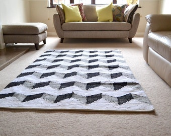 Big Rug Black Grey White  Chevron ZigZag Cotton Handmade - 120x180cm - 4x6'