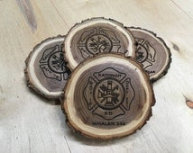 Firefighter Gift, Fireman Gift, Fire Emblem Gift, Firefighter Decor, Engraved Coasters, Personalized Log Coasters, Set of 4