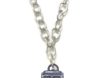 Blue Police Box Upcycled Charm Necklace, Geeky Jewelry, Recycled