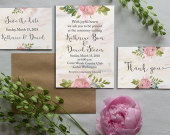 Printable wedding invitation set, Watercolor invitation wedding Printable invitation Floral invitation Invitation Suite DIY Printable BD6011