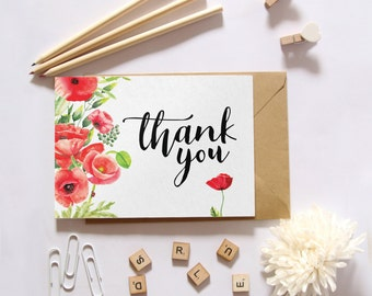 Baby shower thank you cards, Floral thank you cards, Printable thank you, Poppy printable card, Baby stationery, Baby shower card BD-5019
