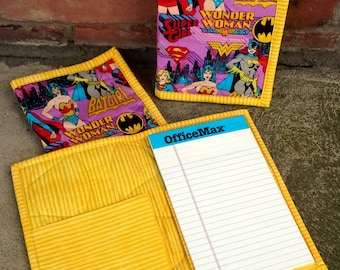 Wonder Woman - Bat Girl - Super Girl-  Quilted Notebook Cover - Brightly Colored - Reuseable - Ready to Ship