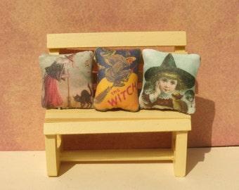Victorian Halloween Witch Dollhouse Mini Pillows set of 3