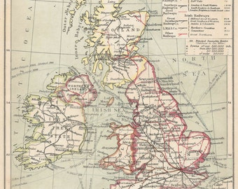 British Isles Railways 1920s old maps home decor Vintage Prints old maps rail map