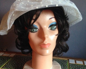 Vintage Evelyn Model Off-White Dotted Tulle and Mesh Summer Hat