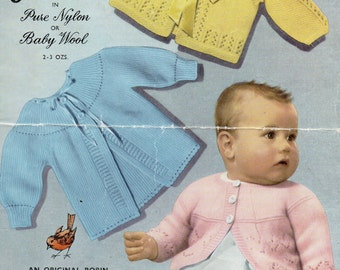 PDF Robin 703 Vintage Baby Knitting Pattern 3-6 months Cardigans Instant Download 3/4 ply