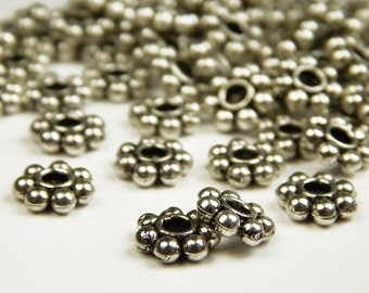 25 Pcs - 8x3mm Tibetan Silver Daisy Spacer Beads - Disc Spacers - Metal Spacer Beads - Jewelry Supplies