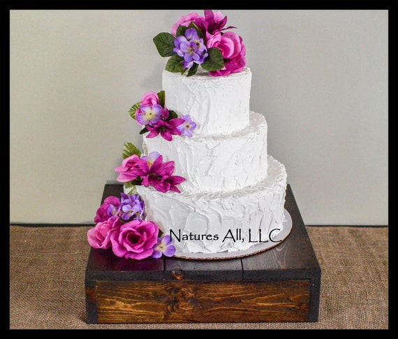 "16"" Rustic Wedding Cake Stand/Country Wedding Cake Stand/Rustic Cake Stand/Dark Walnut/Shipping Included:Item# CS-4000"