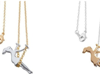 Girl Swinging Swing Necklace 18K Gold and Silver