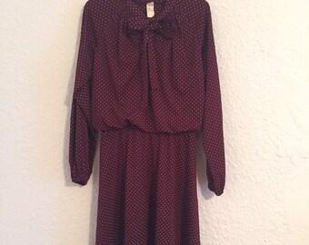Vintage Maroon Polka-dot Dress