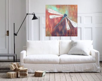 "Dragonfly, original acrylic painting 42"" X 42"" X 1.5""app"