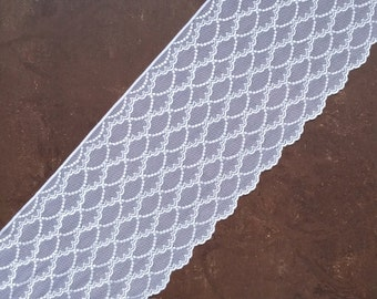 Stretch Lace white color, white lace fabric, Elastic lace white, wide lace, Lace trim, width 6,77 inch, lace 17,2 sm, lace per metre Nr 1009