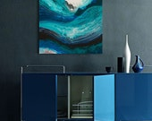 Abstract Painting. Acrylic painting on Canvas. Blue Painting. Artl Decor.