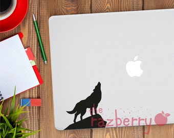 Wolf Howling Macbook Decal Apple Sticker Macbook Sticker Macbook Pro Sticker Macbook Air Vinyl Decal Sticker Laptop Sticker Decal Vinyl
