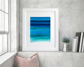 Beach painting, Acrylic on paper, Ocean Seascape art, Abstract Waves, Modern wall art, California beach, Home decor 11x14 by Nikki Chauhan.