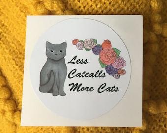 Less Catcalls More Cats Floral Feminist Vinyl Sticker