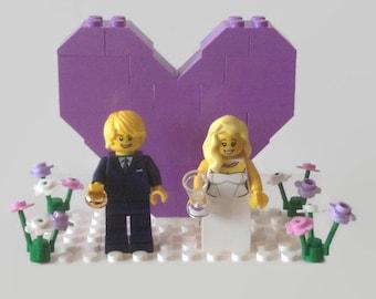 Wedding Cake Topper Gift 'Customised' Lavender/Pink Pastel Bride and Groom Minifigures Wedding Gift Favor Customised