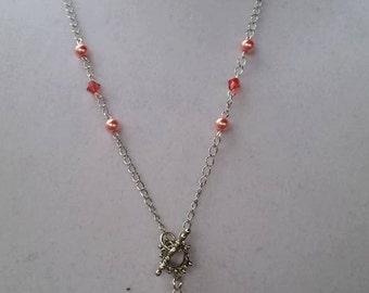 Swarovski & Glass Pearl Y Necklace