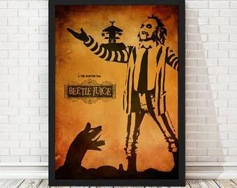 Beetle Juice Tim Burton Movie Poster, Vintage Poster, Minimalist Poster