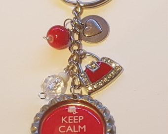 Keep Calm and Go Shopping Bottlecap Keychain