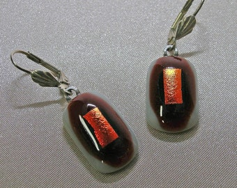 Orange Dichroic on Black, Red and White fully Fused Glass Earrings