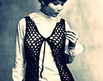 Crochet Pdf Pattern-Easy Crochet Vest Pattern of 1969
