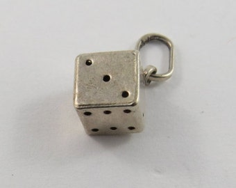 Dice Sterling Silver Charm or Pendant.